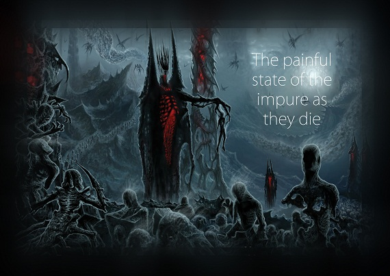 The painful state of the impure as they die